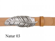 Belt with silver-plated feather buckle