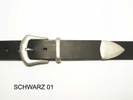 Belt with antique silver coloured buckle and tip, nickel-free