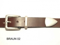 Belt with antique silver coloured buckle and tip, 3 cm wide