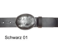 Womens belt with oval graphite-silver coloured buckle