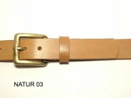 Belt with antique brass coloured buckle, 3 cm wide, nickel-free