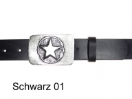 Leather belt featuring antique silver buckle with star design