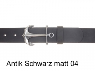 Leather belt with silver-plated anchor belt buckle