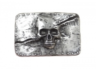 Skull belt buckle vintage style antique silver