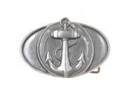 Oval belt buckle with anchor design