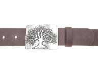 Belt with silver matt coloured tree belt buckle