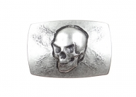 Skull belt buckle antique silver finish