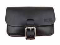 Trendy leather belt bag in black