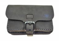 Trendy leather nubuck brown belt bag