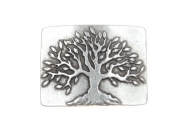 Tree belt buckle antique silver finish