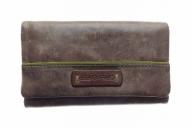 Brown ladies wallet made of soft cowhide, vintage style