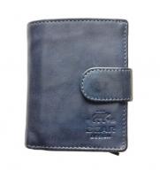 Kompakte Geldbörse mit Alu Kartenprotektor | Leder Blau