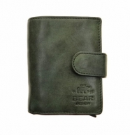 Kompakte Geldbörse mit Alu Kartenprotektor | Leder Grün