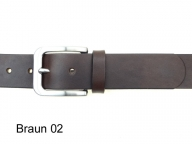 Ledergürtel mit solider satinierter Edelstahl Gürtelschnalle in 4 cm