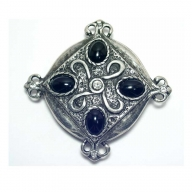 historical design buckle, antique silver finish with black/strass inset