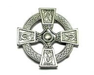 Buckle with silver coloured celtic cross design