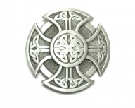 Celtic cross buckle silver coloured