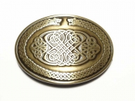 Oval brass coloured buckle with celtic design