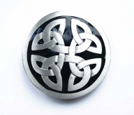Silver coloured/black enamel buckle with celtic design, original Great American