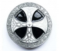 Celtic cross buckle, original Dragon Design, silver coloured/black and white enamel