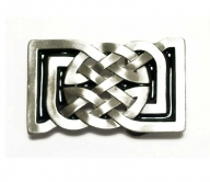 Original Bergamot buckle with square celtic design,  silver coloured/black enamel