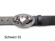 Ladies belt featuring a silver-plated heart and frog king buckle
