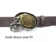Belt with clockwork skull buckle