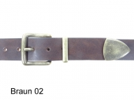 Belt with antique brass coloured 3-part buckle set, nickel-free, 3.5 cm wide - 1