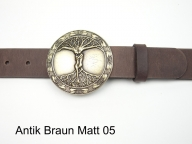 Belt featuring an antique brass coloured tree of life buckle