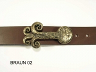 Belt with antique brass coloured buckle , 3.5 cm wide, nickel-free