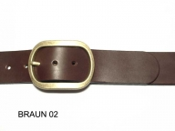 Belt with antique brass coloured oval buckle, 4cm, nickel-free