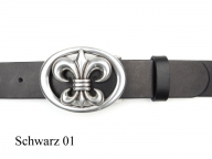 Belt with silver plated Fleur de Lys buckle, nickel-free, 4 cm