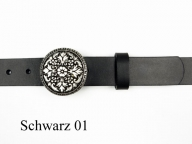 3cm wide belt with small, round, silver coloured buckle