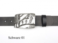 Belt with rectangular antique silver coloured buckle, nickel-free