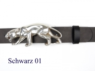 Belt with silver-plated puma buckle