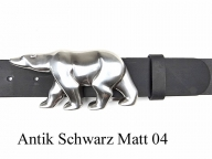 Belt with silver-plated polar bear buckle - 1