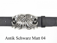 Belt with silver-plated lion heads buckle