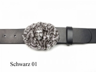 Leather belt featuring medusa belt buckle