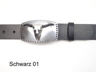 Leather belt with bulls skull buckle, 4 cm wide