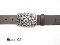 Leather belt with a rectangular celtic design buckle