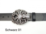 Leather belt with a large, silver-plated octopus buckle