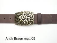 Leather belt featuring a rectangular celtic buckle in antique brass coloured finish