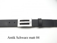 Belt with modern silver coloured buckle, 3cm wide