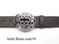 Leather belt with silver-plated celtic dragon design - 1