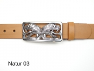 Leather belt with silver-plated cobra heads buckle